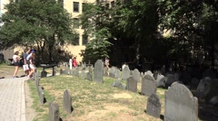 Headstones in the King's Chapel Burying Ground, Boston, MA. Stock Footage