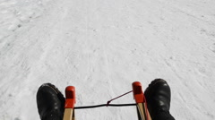 Tobogganing in winter landscape pov Stock Footage