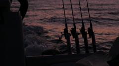Fishing rod, sea, sunset, ocean, yacht, boat Stock Footage