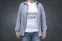 Refugee camp print on t-shirt Kuvituskuvat