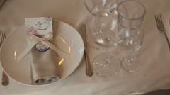 The table in the rastaurant before the wedding Stock Footage