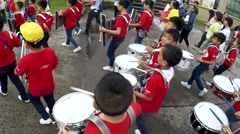 Young Drummers In Uniforms Playing At Parade In church Square Stock Footage