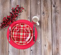 Xmas dinner setting for the festive holiday season on rustic wood Stock Photos