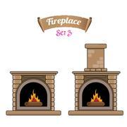 Fireplace icon set isolated on white Stock Illustration