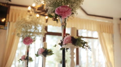 Wedding decor bouqet at the table Stock Footage