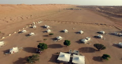 Desert Night Camp in Wahiba Sands Stock Footage