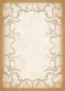 Old frame on aged paper with dark edges and a blank space for text. Retro vin Stock Illustration