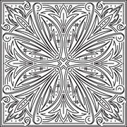 Abstract vector black square lace design in mono line style - mandala, ethnic Stock Illustration