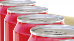 Generic red aluminum cans moving on conveyor. Soft drinks or beer production Stock Footage