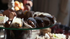 A lot of sweets on the wedding table Stock Footage
