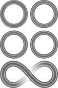 Set of four round vector frames in tire traces style and tire style infinity  Stock Illustration