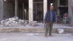 Syria, Kobani - February, 2016: Man with gun, SDF,ISIS war, SDF – YPJ,YPG Stock Footage