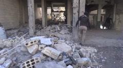 Syria, Kobani - February, 2016: Destroyed buildings, SDF,ISIS war, SDF – YPJ,YPG Stock Footage