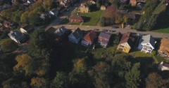 Aerial View Above Small Western Pennsylvania Working Class Neighborhood Stock Footage