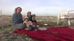 Syria, Kobani - February, 2016: Family, SDF,ISIS war, SDF – YPJ,YPG Stock Footage
