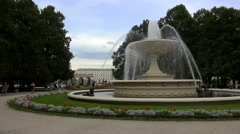 Fountain in Saxon park in Warsaw. Poland. 4K. Stock Footage