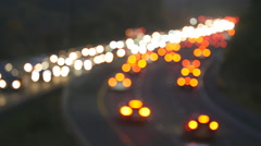 Defocused brake and headlights of highway traffic. Toronto, Canada. Stock Footage