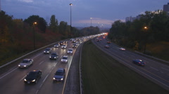 Rush hour traffic on the Don Valley Parkway. Autumn dusk in Toronto. Stock Footage