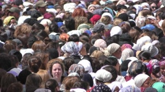 Jewish women gather in the Western Wall for Priestly Blessing Stock Footage