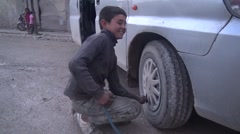 February 2016: Working kids on the street in Syria, SDF, ISIS war Stock Footage
