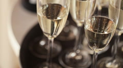 White wine glass close up Stock Footage