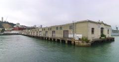 Foggy Establishing Shot of Pier 33 on San Francisco Bay   Stock Footage
