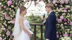 Happy bride and groom on the wedding party Stock Footage