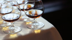 Glass of whiskey close up Stock Footage