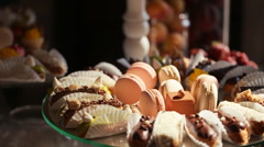 Diversity of pastry decorated with fruit Stock Footage
