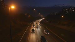 Rush hour traffic on the Don Valley Parkway. Autumn night in Toronto. Stock Footage