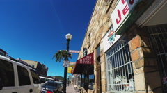 Low Angle Viewpoint Walking Downtown Williams Arizona Stock Footage
