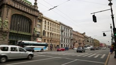Nevsky Prospect in St. Petersburg in Russia Stock Footage
