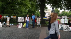 Street artists on Nevsky Prospect in St. Petersburg Stock Footage