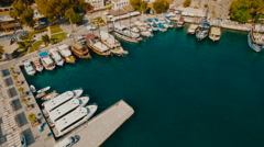Aerial Vertical View of Sea Port With Yachts Stock Footage