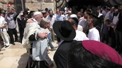 Jews dance in the Western Wall after Priestly Blessing  Stock Footage