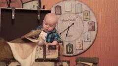 Baby in retro studio Stock Footage