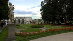Saxon park in Warsaw. Poland. 4K. Stock Footage