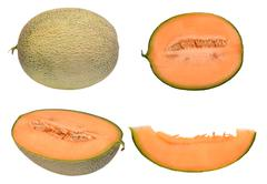 Melon isolated on white background, orange melon Stock Photos