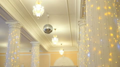 Hall decoration for wedding celebrations indoors Stock Footage