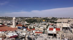 Skyline of Jerusalem, the Old City, churches and mosques Stock Footage