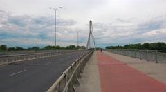Swietokrzyski bridge in Warsaw. 4K. Stock Footage