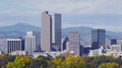 Denver Skyline with Fall Colors Stock Footage