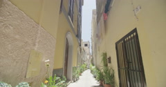 4K Narrow street in Italian city in the summertime. No people. Stock Footage