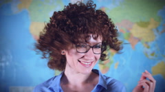 4K Teacher or Student Woman Shaking her Nice Curly Hair Stock Footage