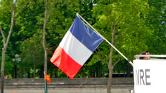 4K Flag of France, French Flag on Stern of Seine Cruise Boat, Paris Holiday Stock Footage