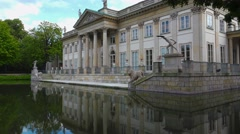 Palace on the Water in Warsaw. Poland. 4K. Stock Footage