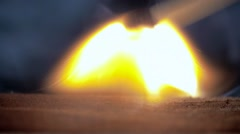 Firing point safety match. Close-up view to strike matches for matchbox. Detail Stock Footage