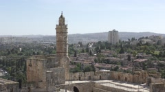 David tower, Jerusalem old city, with view to the new city. Near Jaffa gate Stock Footage