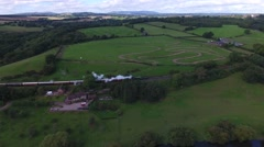 Aerial shot of a steam train in the Severn Valley. Stock Footage