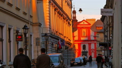 4K Europe Street Shops and Cafes, Old Town Vintage Buildings at Dusk Sunset Stock Footage